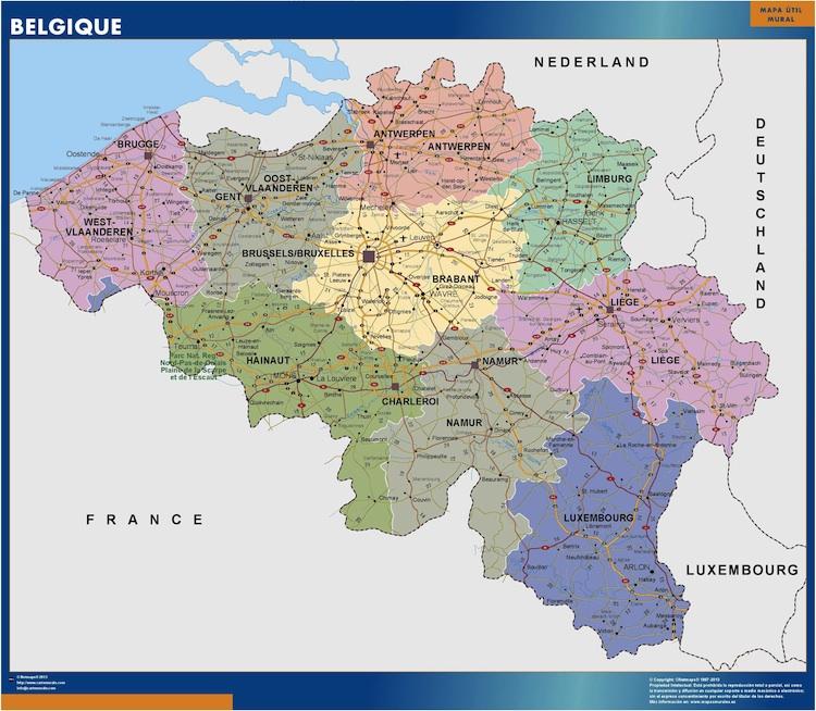 carte murale belgique