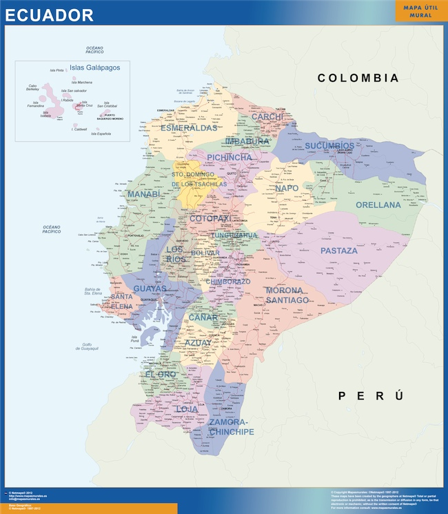 carte murale equateur