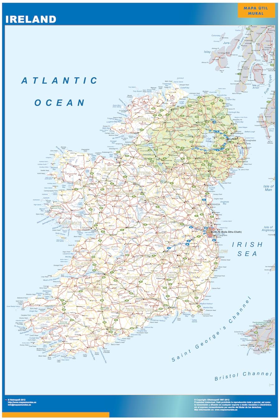 carte murale irlande