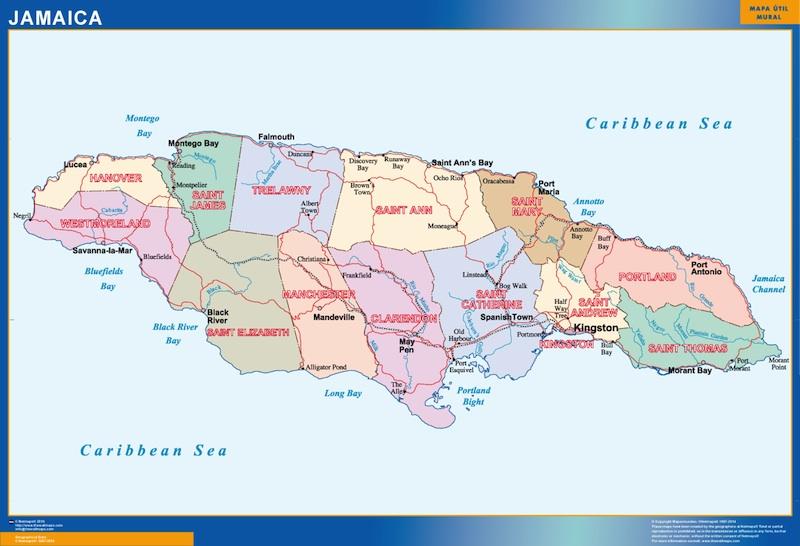carte murale jamaique