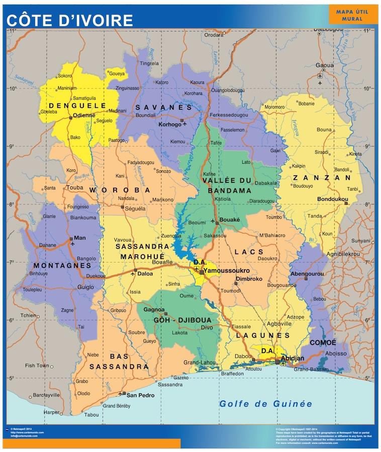 Carte Cote d'Ivoire