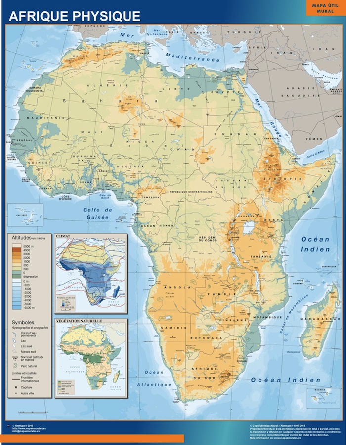 Carte Afrique Physique