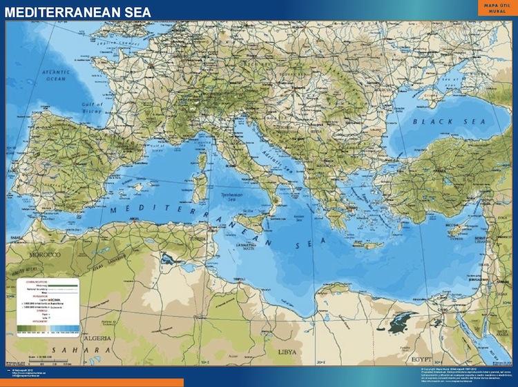 Carte Mer Mediterranee Physique