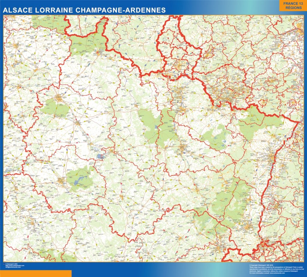 Carte Alsace Lorraine Champagne Ardennes