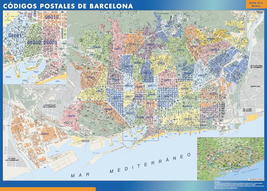 Carte Barcelona codes postaux
