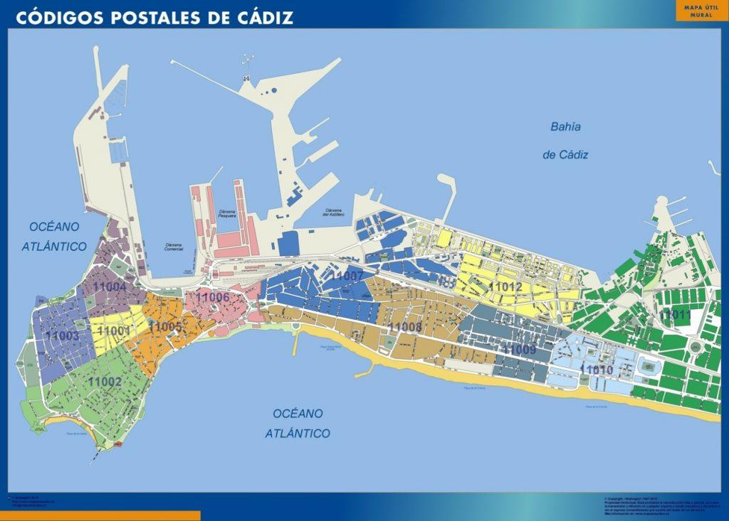 Carte Cadiz codes postaux