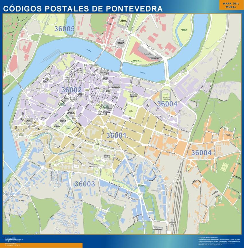 Carte Pontevedra codes postaux