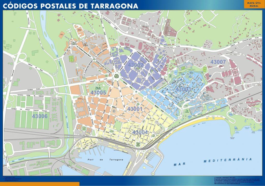 Carte Tarragona codes postaux