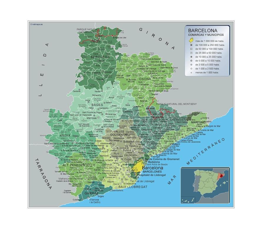 Carte communes Barcelona