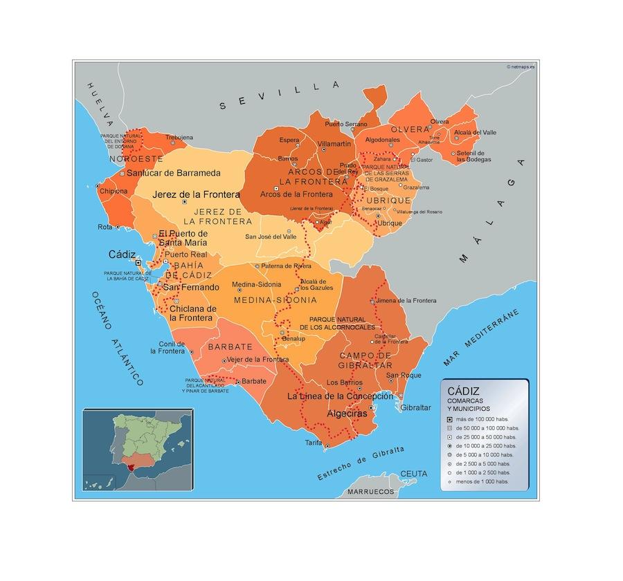Carte communes Cadiz
