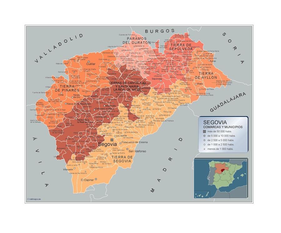 Carte communes Segovia