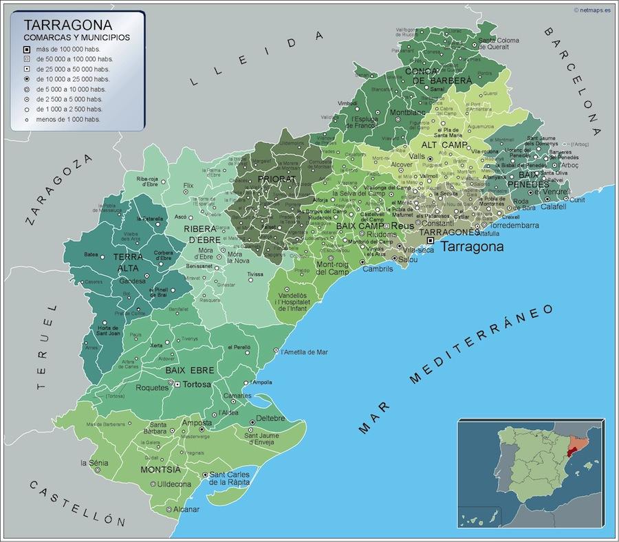 Carte communes Tarragona