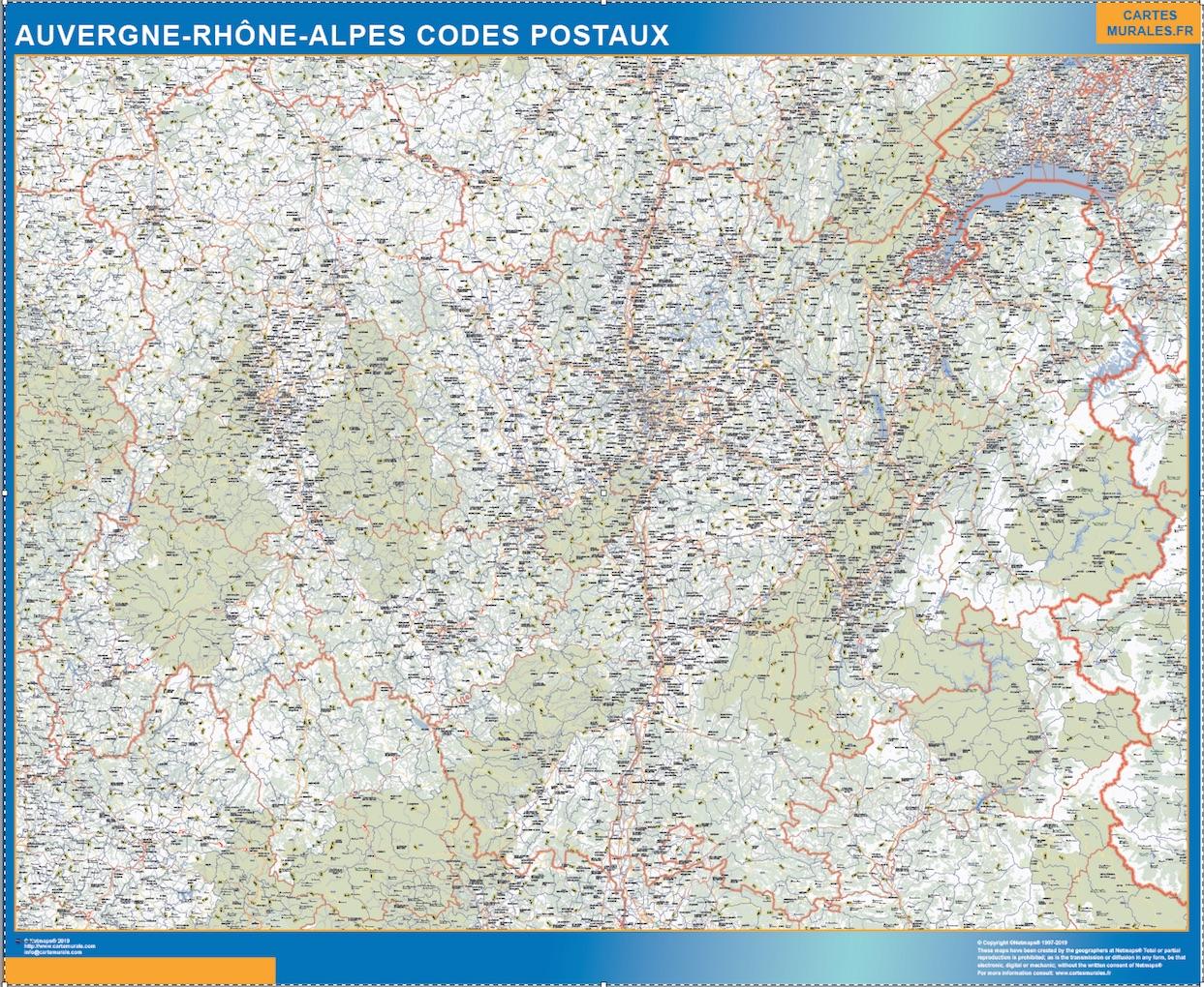 Carte Auvergne-Rhone-Alpes codes postaux