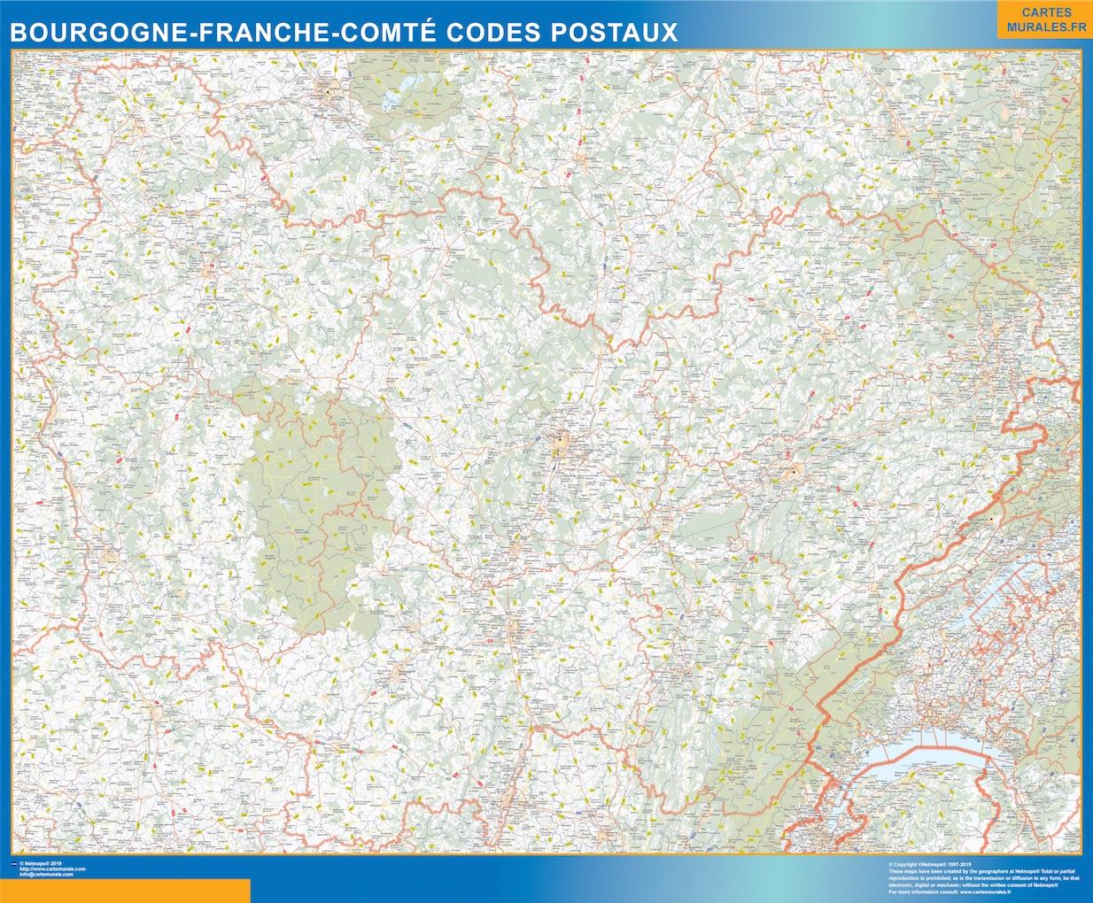 Carte Bourgogne Franche Comte codes postaux