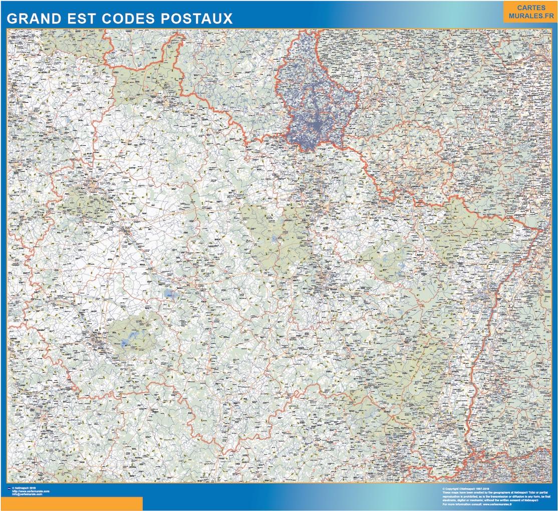 Carte Grand Est codes postaux