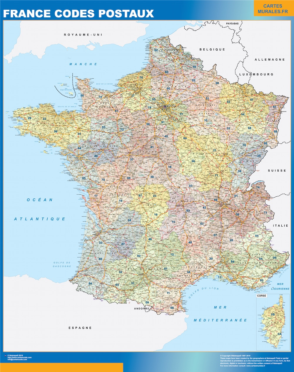 Carte France codes postaux